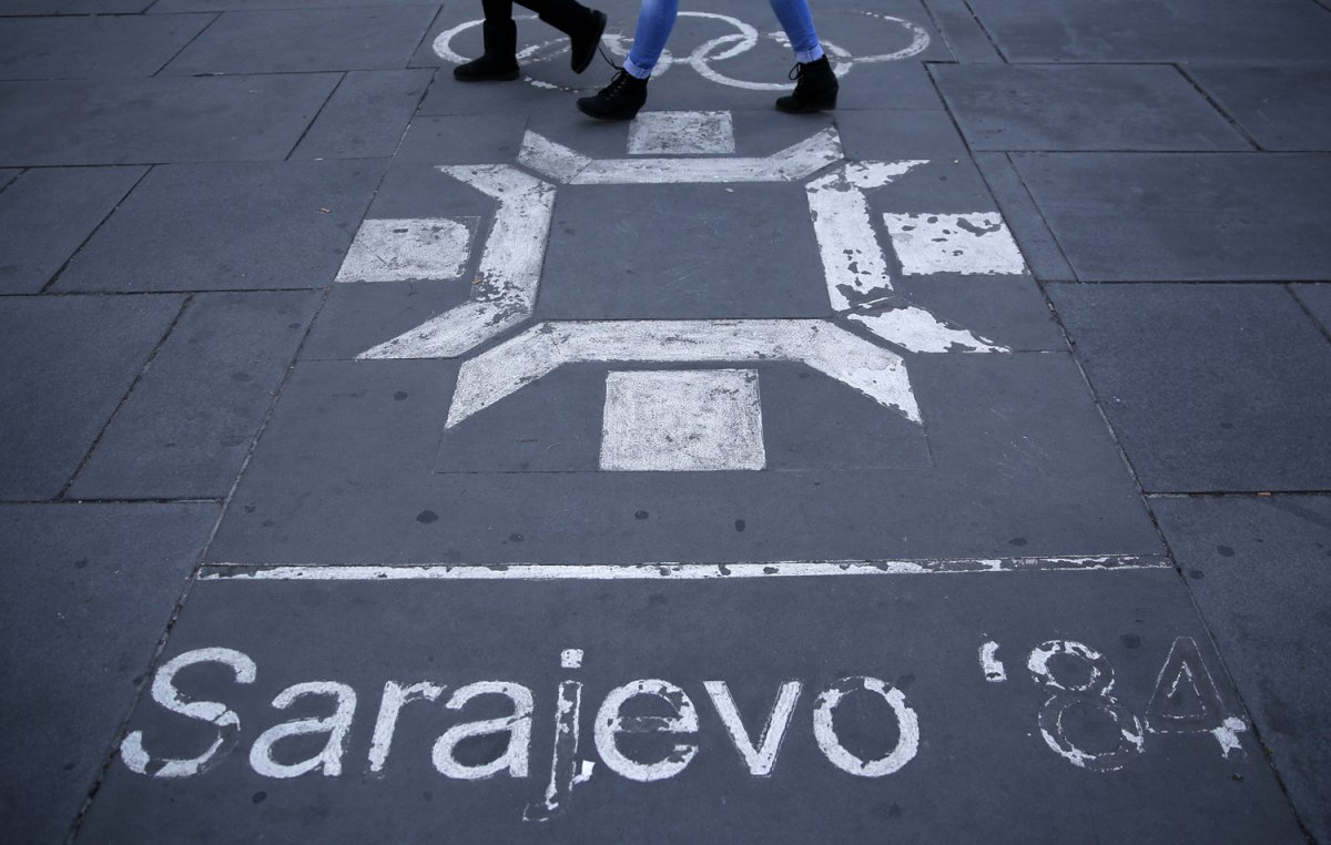 22 - The logo for the 03984 Olympics in central Sarajevo