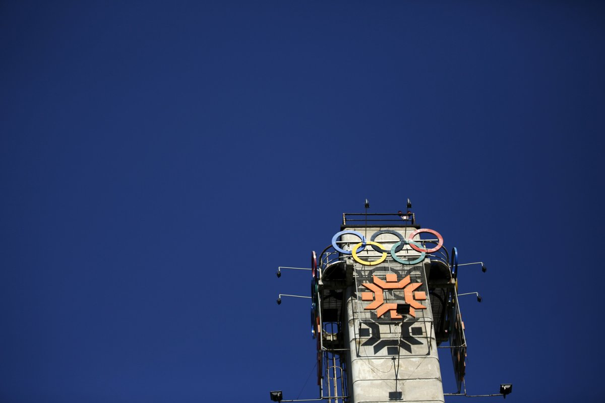23 - The Olympics rings on a tower above the figure skating venue