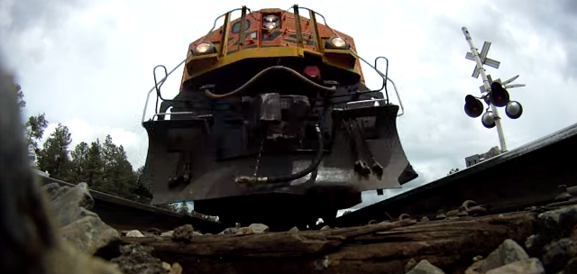 GoPro Camera Sits Unscathed As A Train Speeds By Just Above It. Amazing Footage!